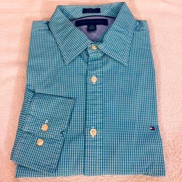 317e69f91 Tommy Hilfiger Aqua w/ White Check Custom Shirt L.  M_5ad802ebfcdc31cb76447e89